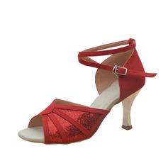 De mujer Cuero Nubuck Tacones Sandalias Danza latina con Tira de tobillo Zapatos de danza