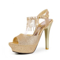 Mousserende Glitter Stiletto Hæl sandaler Platform Slingbacks med Kvast sko