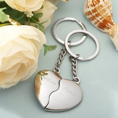 "Personalized ""Split Heart"" Zinc Alloy Keychains (Set of 4)"