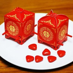Red Sedan Chair Cubic Favor Boxes (Set of 12)