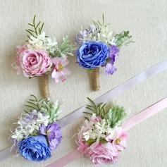 Delicado Seda artificiais Conjuntos de flores (conjunto de 2) - Buquê de pulso/Alfinete de lapela