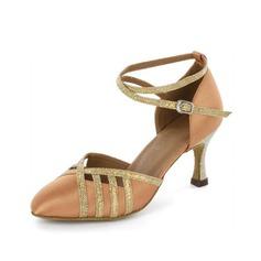 De mujer Satén Brillo Chispeante Tacones Salón Moderno con Tira de tobillo Zapatos de danza