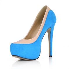 Leatherette Velvet Stiletto Heel Pumps Platform Closed Toe shoes