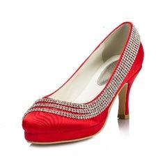 Women's Silk Like Satin Spool Heel Closed Toe Pumps With Rhinestone