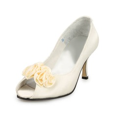 Real Leather Stiletto Heel Peep Toe Pumps Wedding Shoes With Satin Flower (047011053)