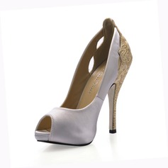 Women's Silk Like Satin Stiletto Heel Peep Toe Sandals With Stitching Lace