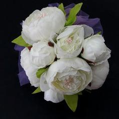 Lumineux Rond Satin/Papier Bouquets de Demoiselle D'honneur