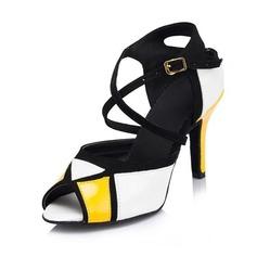 De mujer Piel brillante Tacones Sandalias Salón Danza latina con Tira de tobillo Zapatos de danza