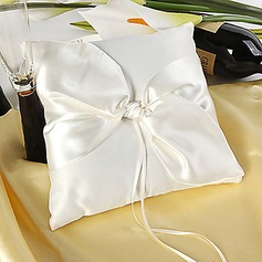 Simple Design Ring Pillow in Ivory Satin With Elegant Knot(103018238)