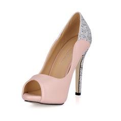 Kvinner Lær Glitrende Glitter Stiletto Hæl Titte Tå Platform Sandaler med Paljetter