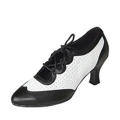 Women's Real Leather Heels Pumps Modern Ballroom Swing Practice Dance Shoes
