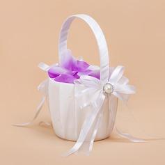 Puhdas Flower Basket sisään Satiini jossa Nauhat