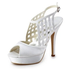 Satin Stiletto Heel Peep Toe Platform Slingbacks Pumps Sandals Wedding Shoes (047011878)