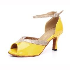 De mujer Cuero Brillo Chispeante Tacones Danza latina con Tira de tobillo Hebilla Zapatos de danza