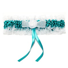 Marvelous Organza With Flower Wedding Garters