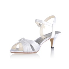 Women's Silk Like Satin Cone Heel Sandals Slingbacks With Buckle