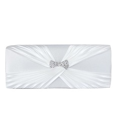 White Gorgeous Satin With Austrian Rhinestone Evening Clutches (012008204)