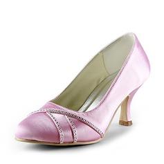 Women's Satin Low Heel Closed Toe Pumps With Rhinestone