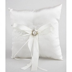 Lovely Rhinestone Decoration Smooth Satin Wedding Ring Pillow(103018294)