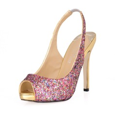 Sparkling Glitter Stiletto Heel Peep Toe Slingbacks Pumps Wedding Shoes With Sequin (047016566)