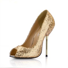 Sparkling Glitter Stiletto Heel Peep Toe Pumps Wedding Shoes With Sequin (085022632)