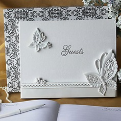 Butterfly Themed Wedding Guest Book in White Resin(101018156)