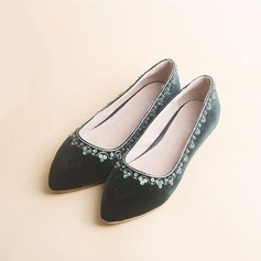 Women's Suede Flat Heel Flats Closed Toe With Sequin shoes