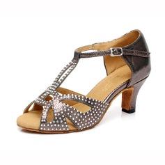De mujer Satén Brillo Chispeante Tacones Danza latina con Rhinestone Tira de tobillo Hebilla Zapatos de danza