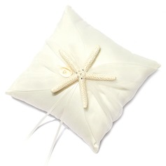 Beach Themed Ring Pillow in Satin With Starfish and Seashell