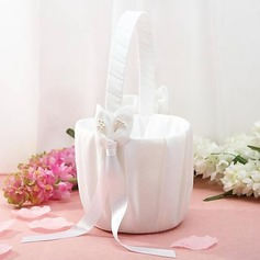 Flower Basket In White Satin With Lily Ribbons(102018058)
