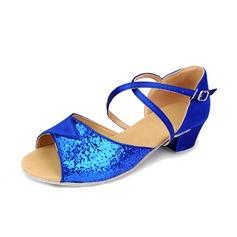 De mujer Niños Satén Brillo Chispeante Tacones Sandalias Danza latina con Tira de tobillo Zapatos de danza