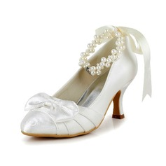 Satin Spool Heel Closed Toe Pumps With Bowknot Imitation Pearl Ribbon Tie