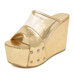 Leatherette Wedge Heel Slingbacks Slippers Pumps (085025158)