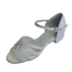 Niños Brillo Chispeante Tacones Sandalias Danza latina con Tira de tobillo Zapatos de danza