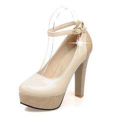Donna Similpelle Tacco spesso Stiletto Piattaforma Punta chiusa con Paillette scarpe