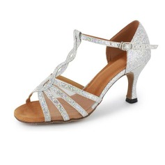 Sparkling Glitter Heels Sandals Latin Salsa Dance Shoes With T-Strap (053020380)