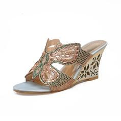 Naisten Keinonahasta Wedge heel Sandaalit Kiilat jossa Tekojalokivi kengät
