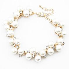 Einzigartige Legierung Nachahmungen von Perlen mit Strass Damen Mode Armbänder