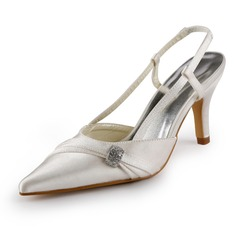 Mulher Cetim Salto agulha Fechados Sapatos abertos com Imitação de Diamantes