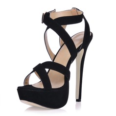 Kvinner Semsket Stiletto Hæl Sandaler Platform med Spenne sko