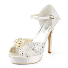 Satin Stiletto Heel Platform Pumps Sandals Wedding Shoes With Imitation Pearl Rhinestone (047011804)