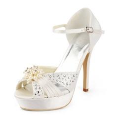 Frauen Satiniert Stöckel Absatz Plateauschuh Sandalen mit Synthetischen Perlen Straß