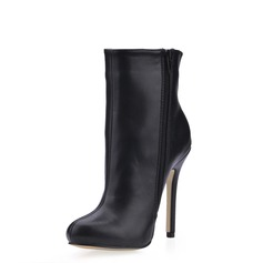 Leatherette Stiletto Heel Closed Toe Ankle Boots shoes