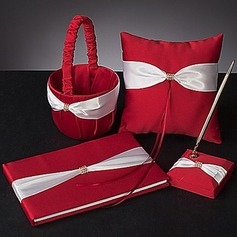 Bold Red Wedding Collection Set With Ivory Sash And Rhinestone (4 Pieces)(100017955)