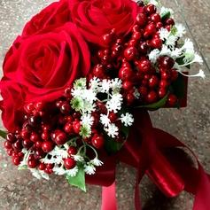 Charme Redondo Seda artificiais Buquês de noiva -