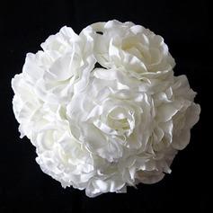 Pur/Blanc Rond Satin Bouquets de Mariée