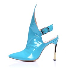 Real Leather Patent Leather Stiletto Heel Pumps Closed Toe Boots Slingbacks With Buckle shoes