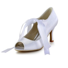 Women's Satin Cone Heel Peep Toe Sandals With Lace-up