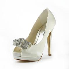 Frauen Satiniert Stöckel Absatz Peep Toe Plateauschuh Sandalen mit Straß