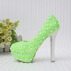 Women's Leatherette Stiletto Heel Closed Toe Pumps With Beading